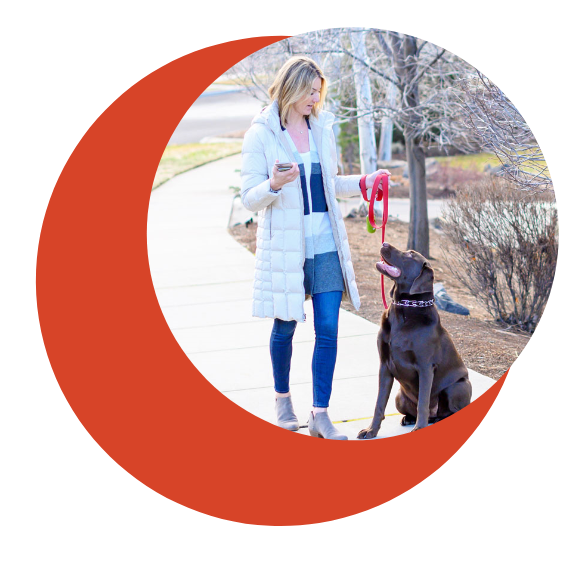 peace of mind home and business security walking dog